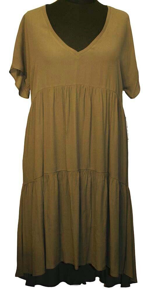 4afd6edf783f80 FASHION LUFTIGES KLEID GR.48 50 (L A-LINIE OLIV XL) MAT nuxibn8530-neue  Kleidung