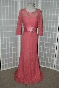 NEW Size Medium Coral Lace Mother of the Bride/Groom gown, full length