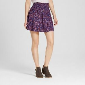 Women-039-s-Soft-Skirt-Challis-Navy-Floral-Print-XS-Mossimo-Supply-Co-Size-XS