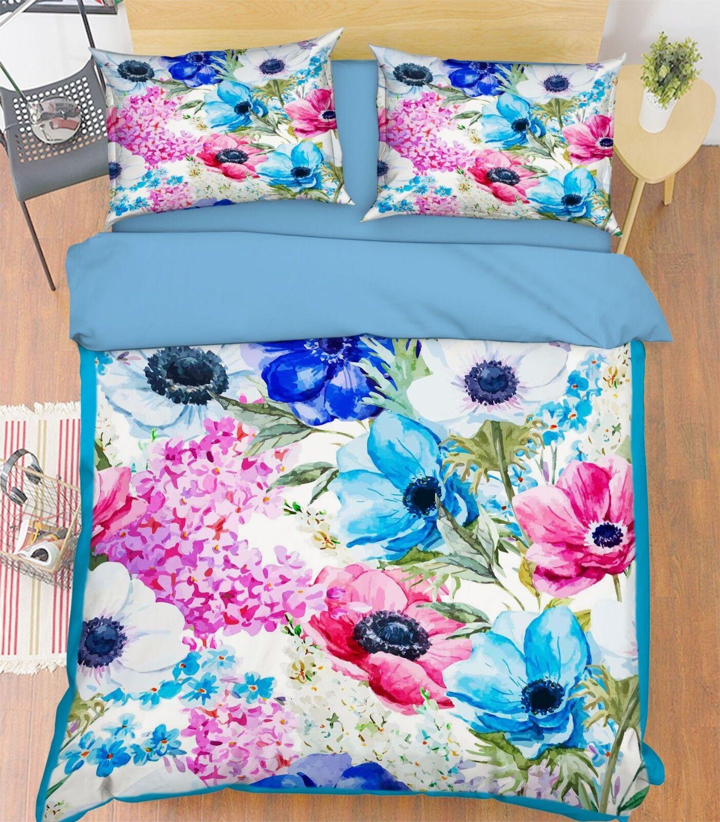 3D Flower Art 4 Bed Pillowcases Quilt Duvet Cover Set Single Queen King AU Carly