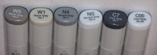 6 Copic SKETCH Markers ASSORTEDS GREY/'S Set