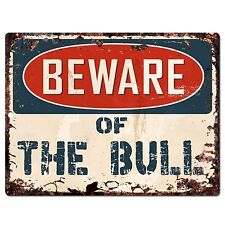 PP0639 Vintage Beware of THE BULL Plate Chic Sign Home Room Store Decor Gift