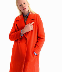 NWT-169-Asos-Double-Breasted-Coat-with-Split-hem-in-Wool-UK-6-18-Mango-Red