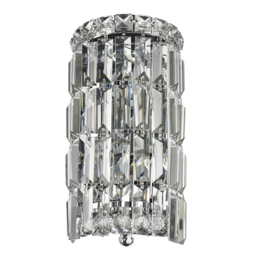 Cascade 2 Light Chrome Finish Crystal Rounded Wall Sconce 6 W X 12 H Small Ada Wall Fixtures Home Garden