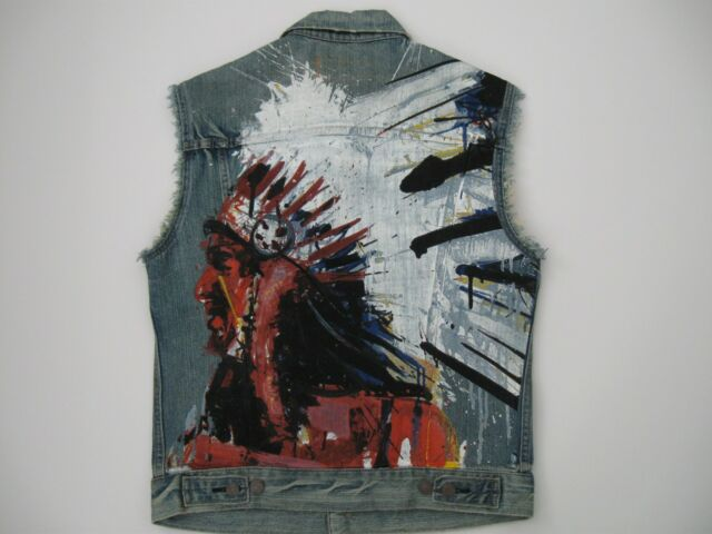 DENIM & SUPPLY RALPH LAUREN Men's Indian Headderss Print Denim Trucker Vest M