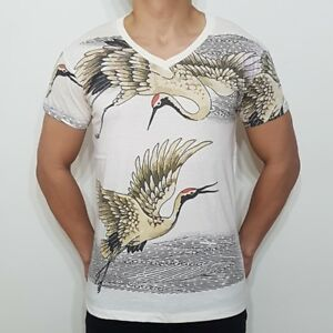 NEW-MEN-039-S-RED-CROWNED-CRANE-SNOW-DANCING-BIRD-HOKKAIDO-JAPANESE-TATTOO-T-SHIRT