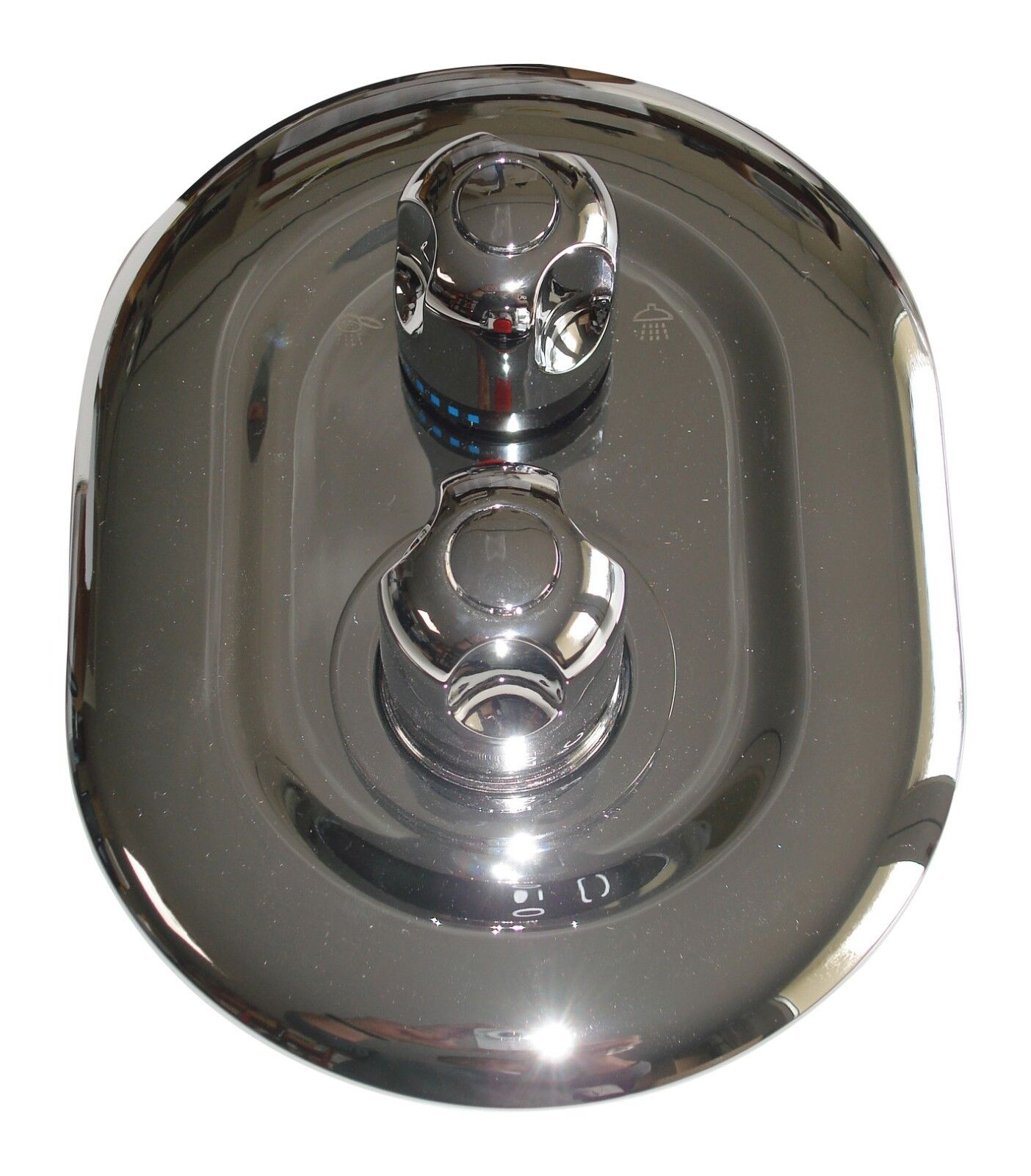 2 Way Douche Thermostatique Mitigeur robinets vanne, Ovale Rond Style, Chrome, 063N