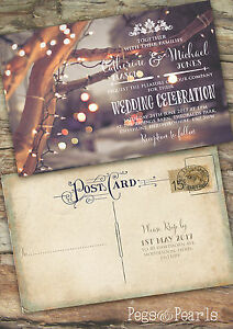 Image Is Loading Personalised Photo Christmas Vintage Postcard Wedding Invitations Packs