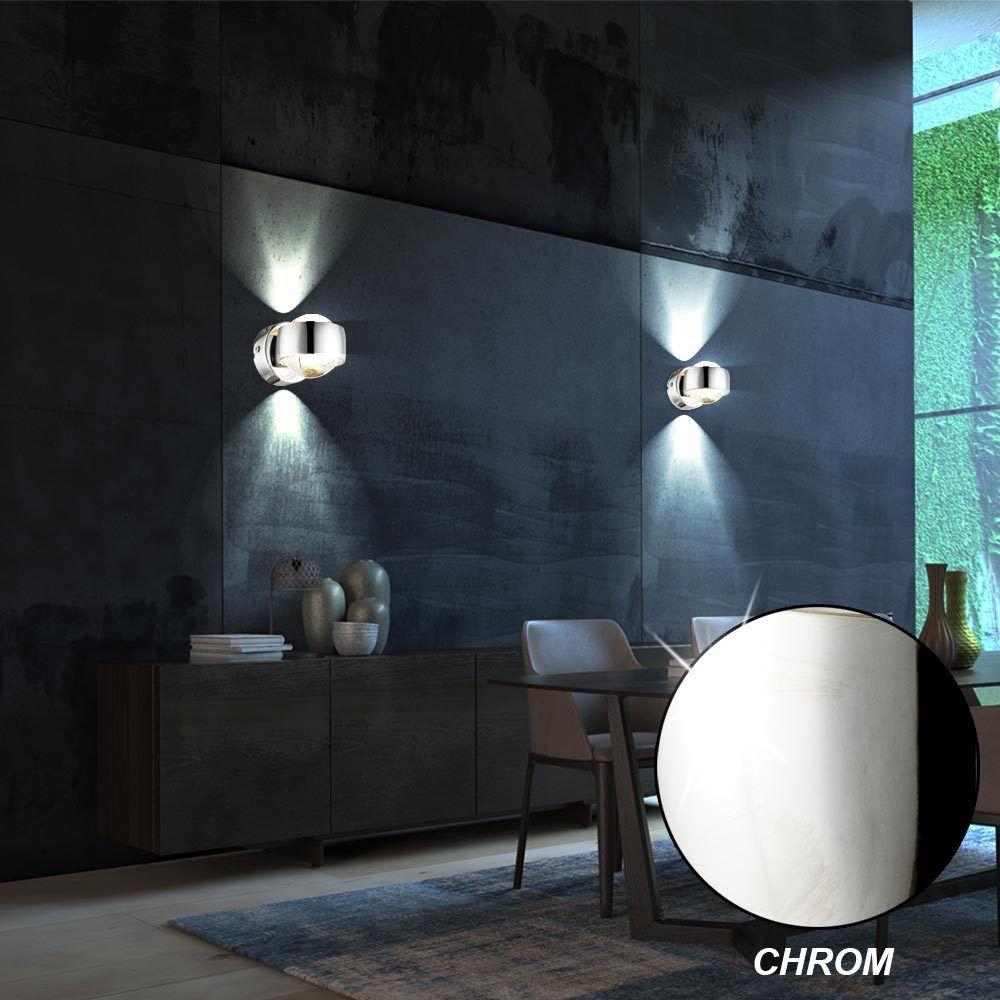 2x LED Lampes Murales Spectacle En Verre Ballons UP & DOWN Cuisines Spot Lumière
