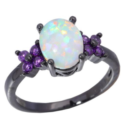 White Fire Opal Amethyst Black Gold Women Jewelry Fashion Ring SZ 6-9 OJ8122