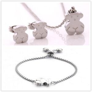 Stainless-Steel-Bear-Pendant-Necklace-Earring-Set-Women-039-s-Bracelet-Jewelry