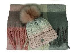 Mütze Schal Set 2 teilig Damen Herren Bommel Beanie Fransen rosa grau SW150PC WH