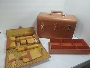 Vintage Taperlite Train Case Cosmetic Trunk Rare Hard Sided Luggage w/ Keys NICE