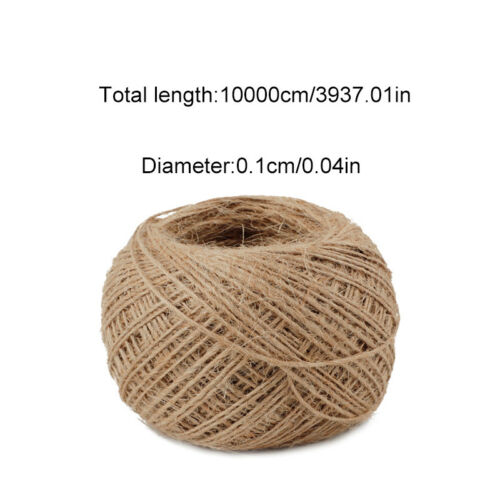 100M 1mm DIY Twisted Craft Rope Natural Burlap Jute Twine Hemp Linen Cord String