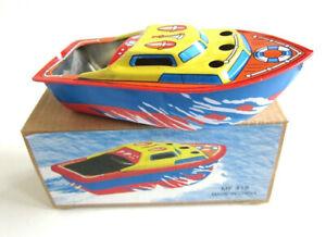 COLORFUL-PONYO-SHIP-Pop-Pop-Boat-Putt-Vtg-style-Tin-Litho-Candle-Power-RUDDER