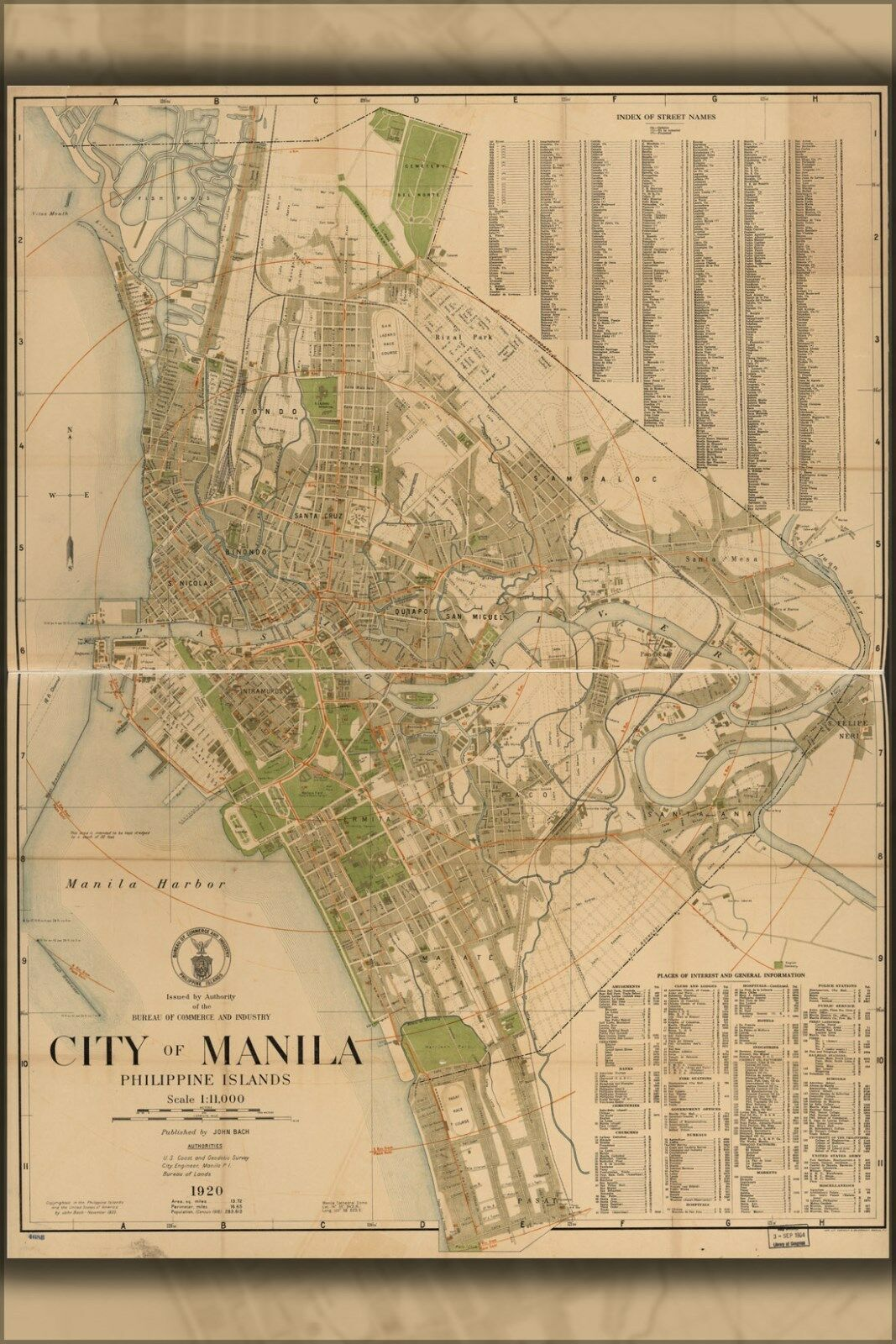 Plakat, Viele Größen; Karte von City Of Manila, Philippinen 1920