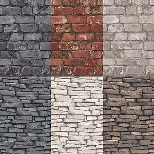 Fine-Decor-Debona-Rustic-Brick-amp-Slate-Effect-Pannel-Wallpaper-10m-14-Colours