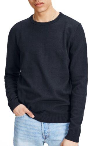 JACK /& JONES Mens Crew Neck Jumper Cotton Knit Sweater Pullover Plain Navy Blue