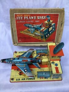 Yonezawa-Jet-Plane-Base-Blechspielzeug-Tin-Toy-Battery-Operated-Japan-Boxed-Rar