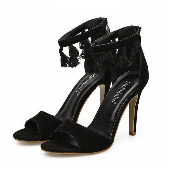 Sandalei eleganti tacco stiletto 12 12 stiletto cm nero frange simil pelle eleganti 9667 95a739