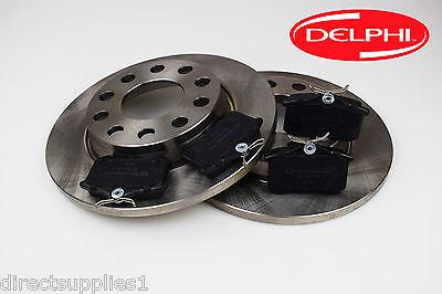 Rear Delphi Brake Pads Brake Discs Full Axle Set 255mm Solid Fits Skoda VW
