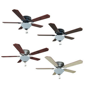52-Inch-Flush-Mount-Hugger-Ceiling-Fan-w-Light-Kit-Oil-RubbedBronze ...