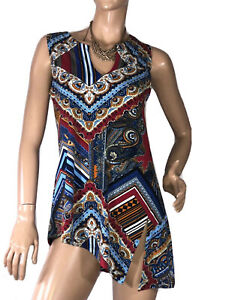 MOTTO-AUS-SIZE-10-PAISLEY-PRINT-TUNIC-TOP-LIKE-NEW