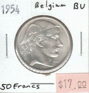 Belgium-50-Francs-1954-Silver-UNC-Uncirculated