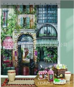 Image Is Loading French Style Cafe Coffee Shop Scene Shower Curtain