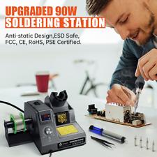 90w Soldering Rework Iron Station Kit Led Display Auto Sleep Esd Safe With5 Nozzle