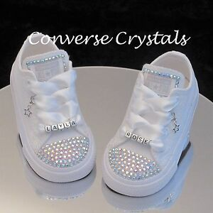 b0cfe31a30f8 Image is loading Personalised-Mono-White-Custom-Crystal-Bling-Converse -Infant-