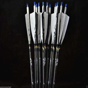 X6 Archery Turkey Feathers Carbon Arrow 7mm Spine 500 Changeable Arrowhead