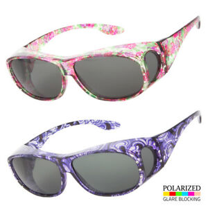 POLARIZED-Rhinestone-cover-put-over-Sunglasses-wear-Rx-glass-fit-driving-LARGE