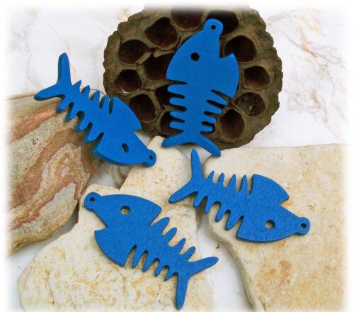 10 große super schöne Holzanhänger Fisch blau 64 x 33 x 4 mm Loch 2 mm Ketten