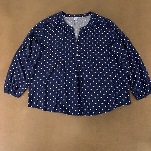 Old Navy Women's Size XXL Blue White Dots Relaxed Long Sleeve Popover Blouse