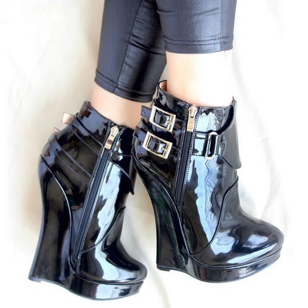 femmes Ankle bottes Super High Wedge Heel Platform Zipper Punk chaussures Nachtclub
