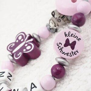 Schnullerkette mit Namen Mädchen Schwester Babygeschenk Geburt grau rosa lila