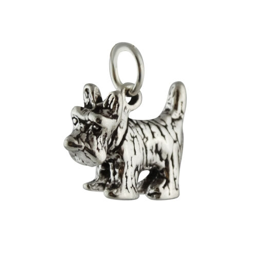 Scottish Terrier Dog Charm-Argent Sterling 925-Scottie Pet aberdeenie New