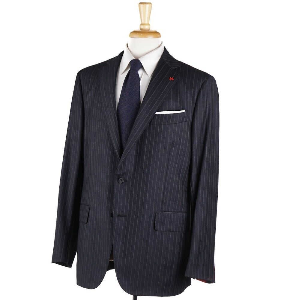 NWT 3895 ISAIA Charcoal-Light grau Chalk Stripe 130s Wool Suit 44 R (Eu 54)