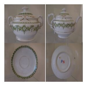 Theiere-sucrier-2-soucoupes-porcelaine-barbotine-anglaise-XVIIIe-PN-France-N70