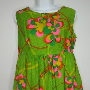 Vtg-60s-Sun-Fashions-Casual-Aire-Green-Psychedelic-Floral-Hawaiian-Maxi-Dress-M