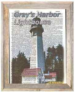 Gray's Harbor Lighthouse Washingto Altered Art Print Upcycled Vintage Dictionary