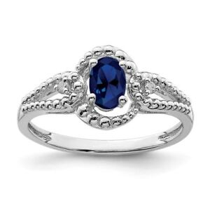 Jewelry & Watches Cheap Price Sterling Silver 2 Mm Created Sapphire And Diamond September Birthstone Ring Comfortable Feel