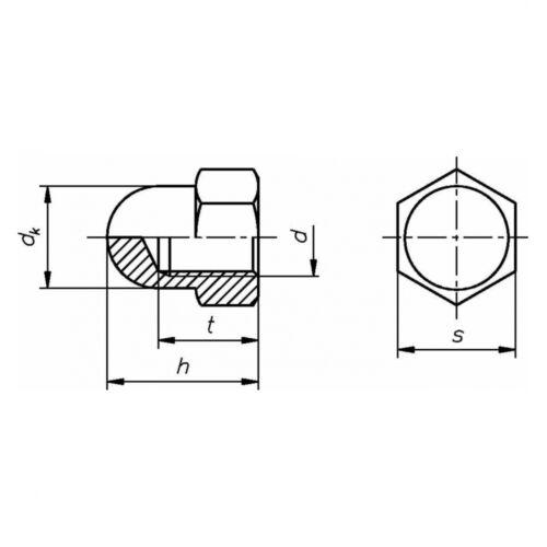 10 x DIN 1587 Sechskant-Hutmutter Feingewinde M 8 x 1 hohe Form Stahl blank