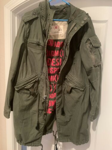 Unisex GAP PRODUCT RED MILITARY ARMY GREEN COAT (X
