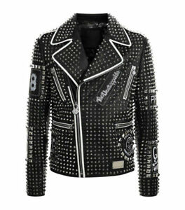 Mens Fashion Leather Jacket Silver Studded Real Soft Leather Slim Fit Jackets