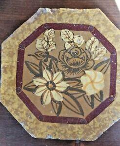 RIGGIOLA ottagonale maiolica decorata mano FIORI  - SICILIA XIX secolo