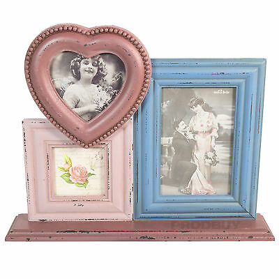 Sass and Belle 3 Photo Picture Frame Pink Heart Decorative Vintage Shabby Chic