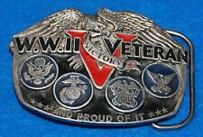 WWII (2) Veteran And Proud Of It Belt Buckle, Complete & Functional