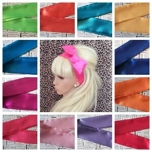 PLAIN-SATIN-BENDY-WIRED-WIRE-HAIR-WRAP-SCARF-HEAD-BAND-50s-VINTAGE-STYLE-BRIGHT
